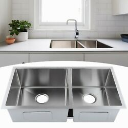 Stainless Steel Kitchen Large Double Sink Basin Freestanding Practical Sink