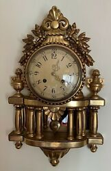 Swedish Gilt Carved Wood Wall Clock 20th Century By Westerstrand Working Order
