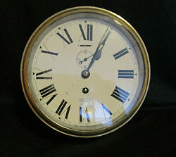 Antique Smiths Astral Brass Ships Clock 8 Working With Key