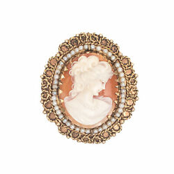Antique 14k Yellow Gold Italian Hand-carved Cameo Pearl Seeds Shell Pin Pendant