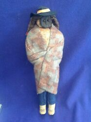 Rare Antique Native American Navaho Indian Apple Head Doll Dressed In Blanket