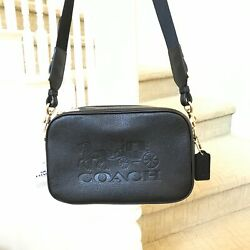 New Coach Leather Jes Horse amp; Carriage Double Zip Crossbody Bag F75818 Black $179.99