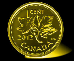2012 Canadian Penny Plated Gold 24k-magnetic