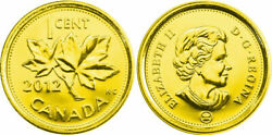 2012 Canadian Penny Plated Gold 24k- Non Magnetic