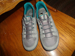 Clarks Vailee Marble Grey Leather Bungee Slip On Walking Shoes 8 New No Box