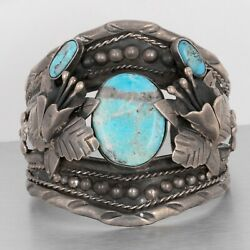 950 Sterling Silver Three Stone Turquoise Tulip Flower Cuff Bracelet Mexico