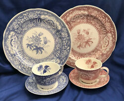 The Spode Blue Room Collection Floral 2 Triosdinner Plate,cup,saucer Pink Blue