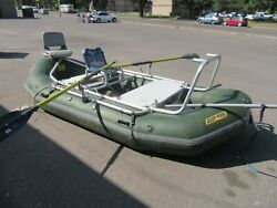 14and039x7and039 Down River Commercial Fishing Raft Boat W/ Aluminum Frame Setup Oars Nice