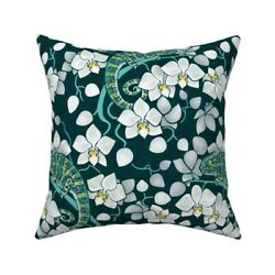 Rainforest Chameleon And Orchid Throw Pillow Cover w Optional Insert by Roostery