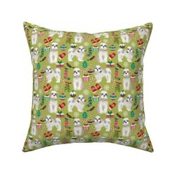 Shih Tzu Dogs Christmas Holiday Throw Pillow Cover W Optional Insert By Roostery
