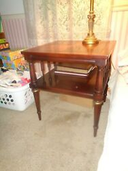 Vtg 2 Lane Mahogany 23 Sq Dbl 2 Tier End Side Lamp Tables Spindle Brass Accents