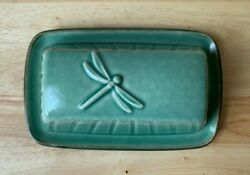 Pfaltzgraff Naturewood Serenity Green Dragonfly Covered Butter Dish - Euc