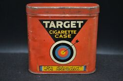 Vtg Bright Red Target Metal Cigarette Case Tin-it's Blended-brown And Williamson