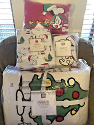 Pottery Barn Peanuts Twin Quiltshamsheet Setpillow Snoopy Christmas6 Pcnwt