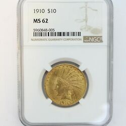 1910 10 Indian Head Gold Eagle -- Ngc Ms62 -- Rare 318,704 Minted --