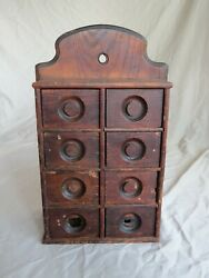 Primitive / Antique 8 Drawer Well Used Spice Cabinet Fantastic Worn Patina