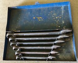 Rare Early Craftsman 6pc Combination Wrench Set Ci Series 7/16- 3/4 W/ Metal Box