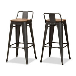 Baxton Studio 150-9126 Henri Bamboo And Metal-finished Steel Bar Stool With