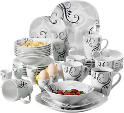 Dinnerware Set 40-piece Ivory White Plate Sets Stoneware Dinner Service For 8