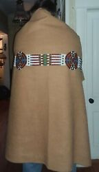 Unique Western Wall Decor Native American Style Beaded Blanket W/ Beaded Strip