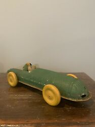 Vintage Buffalo Toys Works Tin Pull Wind Up Toy Race Car