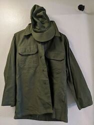 Us Military Issue Korean War Olive Green Shade 107 Wool Shirt And Hat 15.5x32