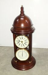 Wooden Desk Clock In Antique Style With Thermometer. Mint Mint