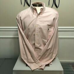 Casual Menand039s Button Down Long Sleeve Big Shirt Pink/white Stripe Xl
