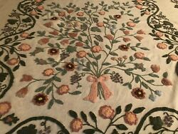 Green Blue Pink Flowers Cabin Craft Vintage Chenille Bedspread Full/queen