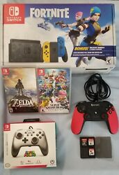 Nintendo Switch Fortnite Wildcat Bundle 5 Games Included + Accessories + Extras