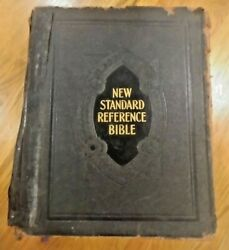 Antique Holy Bible Large Family Pictorial 1935 New Standard Indexed Reference