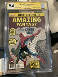 Amazing Fantasy 15 Reprint Signed Stan Lee Cgc 9.6 Ss 1st Spiderman Appearance