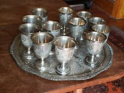 Antique Persian 875 Silver Set Of 12 Goblets And Tray Arabesque Floral-2000 G.