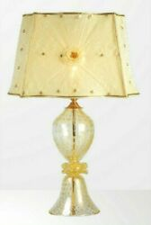 Table Lamp Glass Of Murano Fused With Gold Handmade In Italy 1 Light