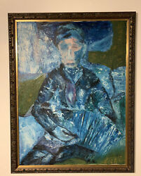Large Mystery Unknown Antique Blue Period Oil Painting