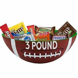 Football Plastic Serving Platter With 3 Pounds Of Chocolate Bulk Candy Party