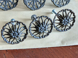 3 Antique Cupboard Or Drawer Pull Knobs - Daisy Flower - Metal, Bronze Finish