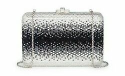 Judith Leiber Ombre Silver Jet Slimslide Evening Bag Clutch Crystal Minaudiere