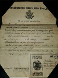 Wwi Us Army Discharge Paper Named To Corbett L. Nesmith W/ Carrier And Reg. Card