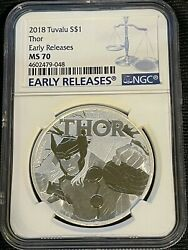 2018 Ngc Ms70 - 1 One Ounce Silver Dollar Tuvalu Thor Early Releases Rare-beauty