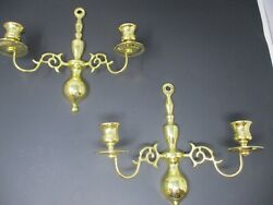 Pair Of Baldwin Brass Wall Mount Double Arm Candle Holders