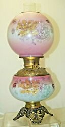 Antique 1880s - 90s Royal Hand Painted Victorian Hurricane Gwtw Oil Lamp