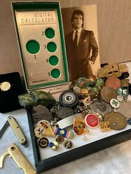 Junk Drawer Estate 50pc Lot Wm Rogers Nickle Silver Knives Usa Toys Tokens More