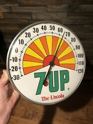 Vintage 7up The Uncola Advertising Round Thermometer Sign Seven-up Soda