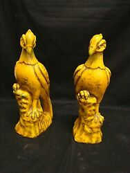 Antique Couple Birds Pheasants Chinese In Ceramic Early '900 Chinese Oriental