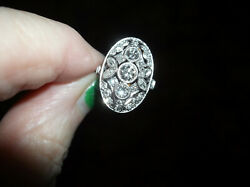 Vintage Platinum Marquise And Round Cut Diamond Ring Size 6