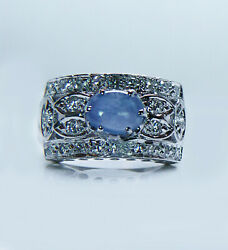 Vintage Star Sapphire Colorless Diamond 14k White Gold Ring East West Estate