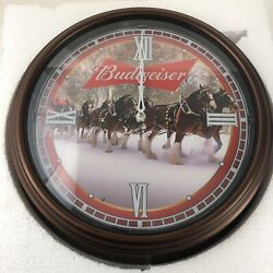 Bradford Exchange Budweiser Illuminated Automatic Clydesdale 14andrdquo Clock And Coa New