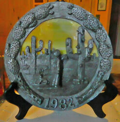 Pewter 8 Plate Southwest Christmas Cactus Michael Ricker Yellow Stained Glass