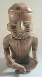 Pre-columbian Mayan Antique Pottery Clay Painted Figure Statue Seated Man
